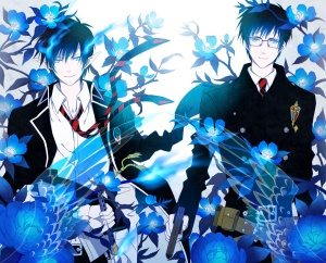 Konachan.com - 103349 ao_no_exorcist blue_eyes blue_hair flowers male okumura_rin yuuno_(yukioka)